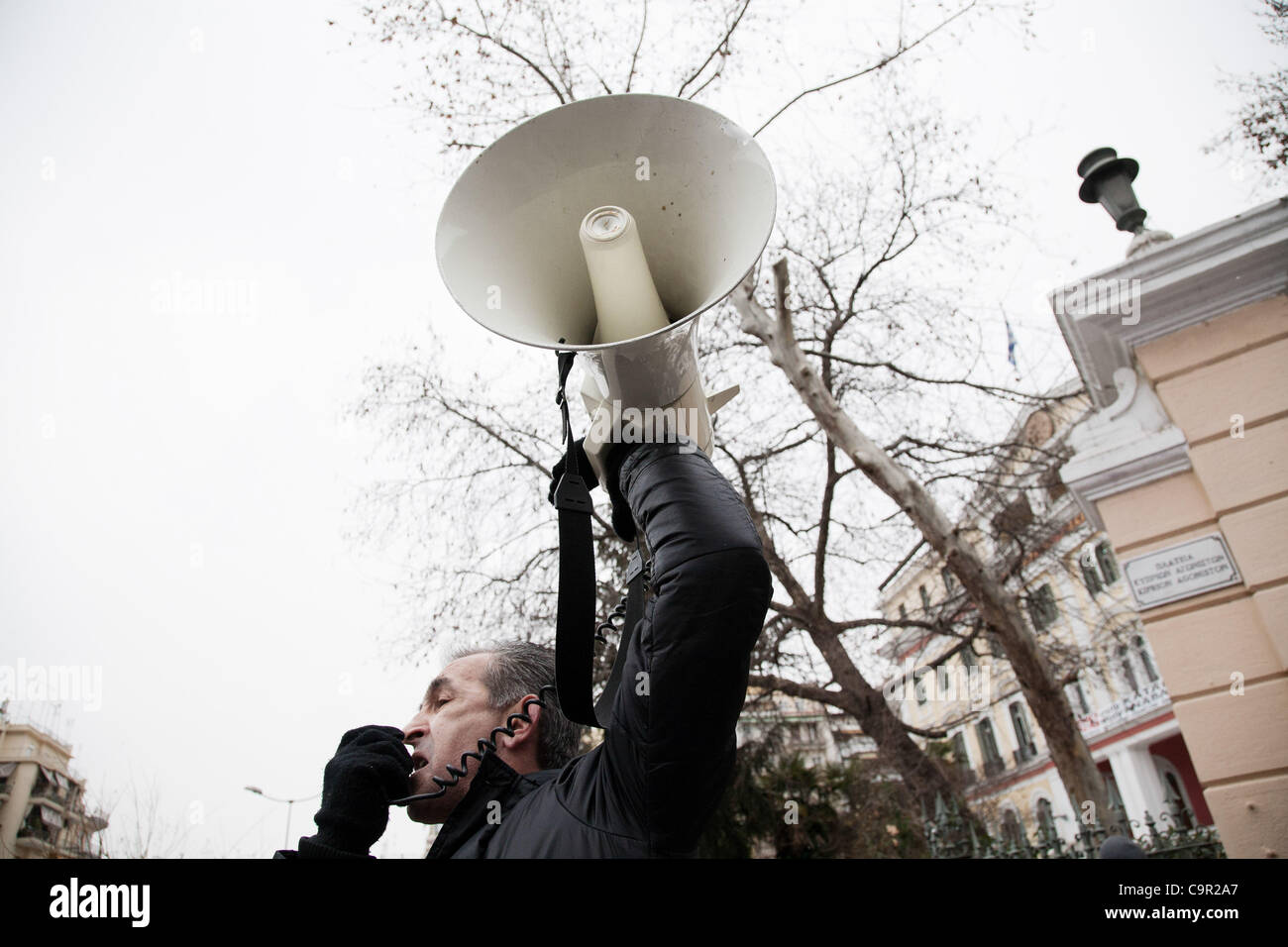 48-hour nationwide strike. Protests in Thessaloniki against the new stringent economic measures. 10th February 2012. - Stock Image
