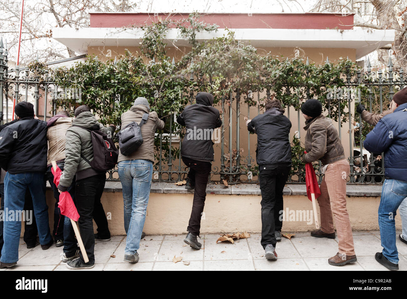 The protesters try to get into the former Ministry of Macedonia and Thrace. 48-hour nationwide strike. Protests - Stock Image