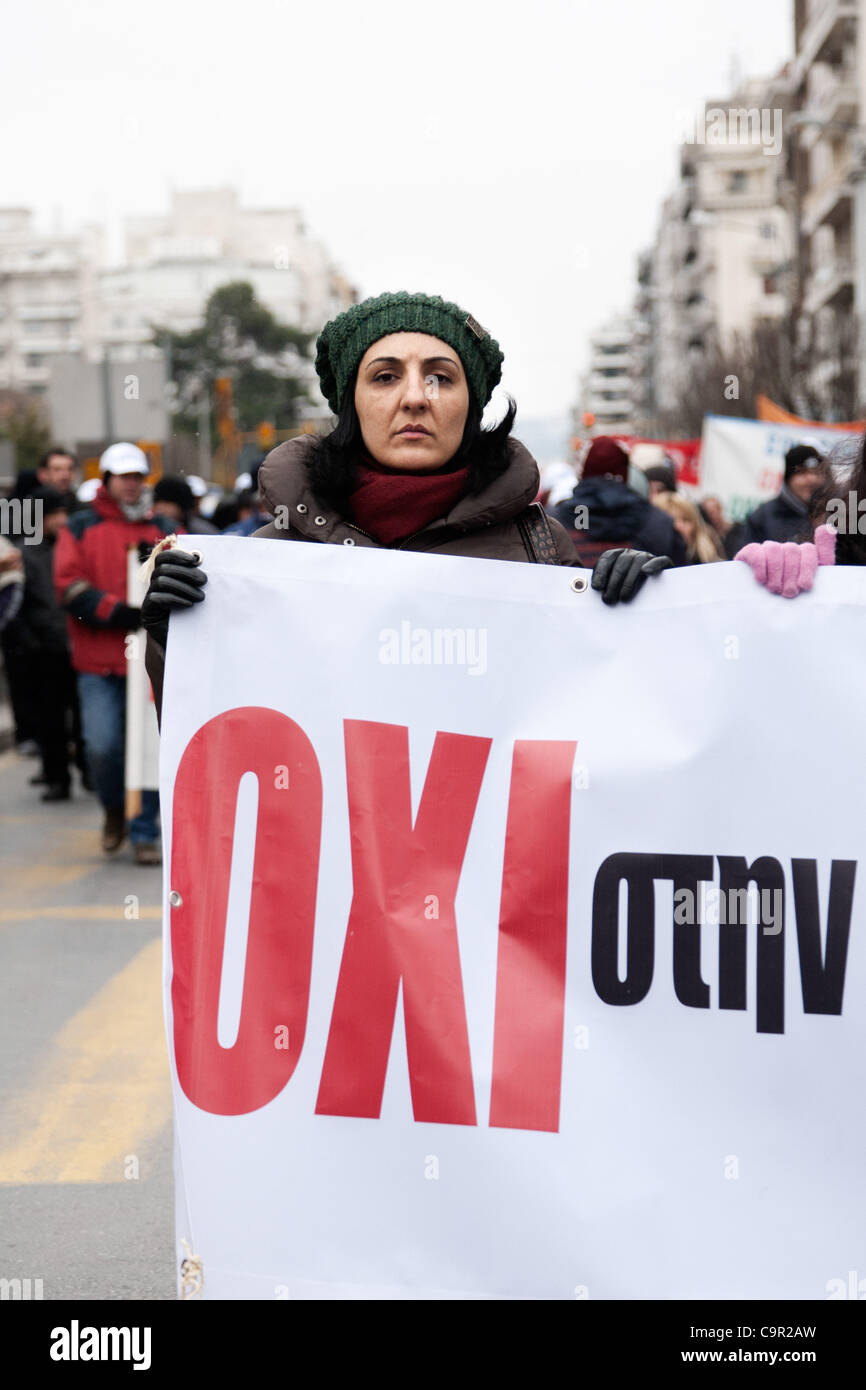Greek protesters say NO to new economic measures. 48-hour nationwide strike. Protests in Thessaloniki against the - Stock Image