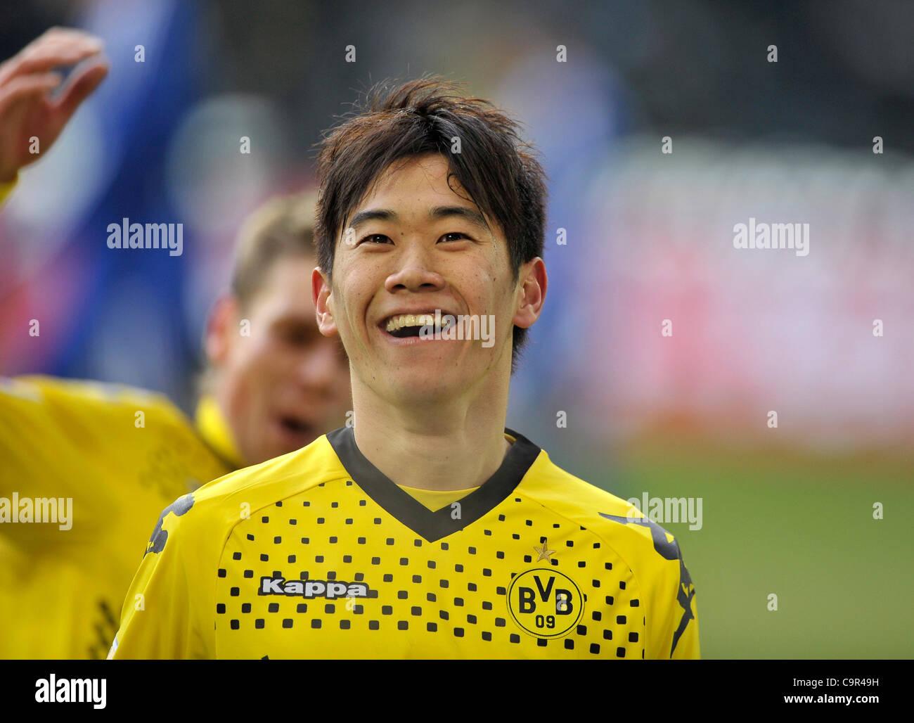 german Bundesliga, 11.02.2012 Borussia Dortmund vs  Bayer 04 Leverkusen ---Shinji Kagawa (BVB) celebrates his goal - Stock Image