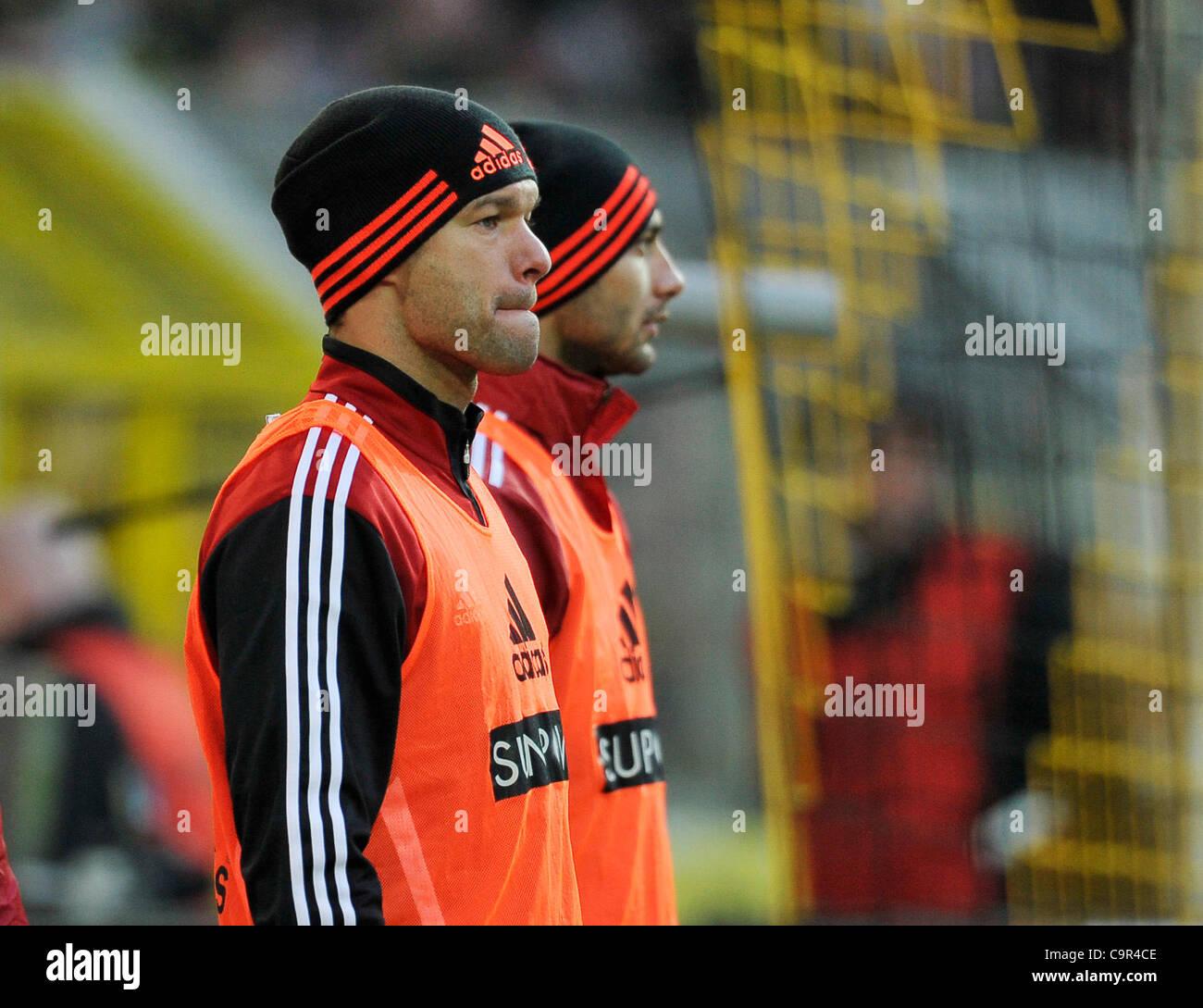 german Bundesliga, 11.02.2012 Borussia Dortmund vs  Bayer 04 Leverkusen ---Michael Ballack (Leverkusen,left) warming - Stock Image