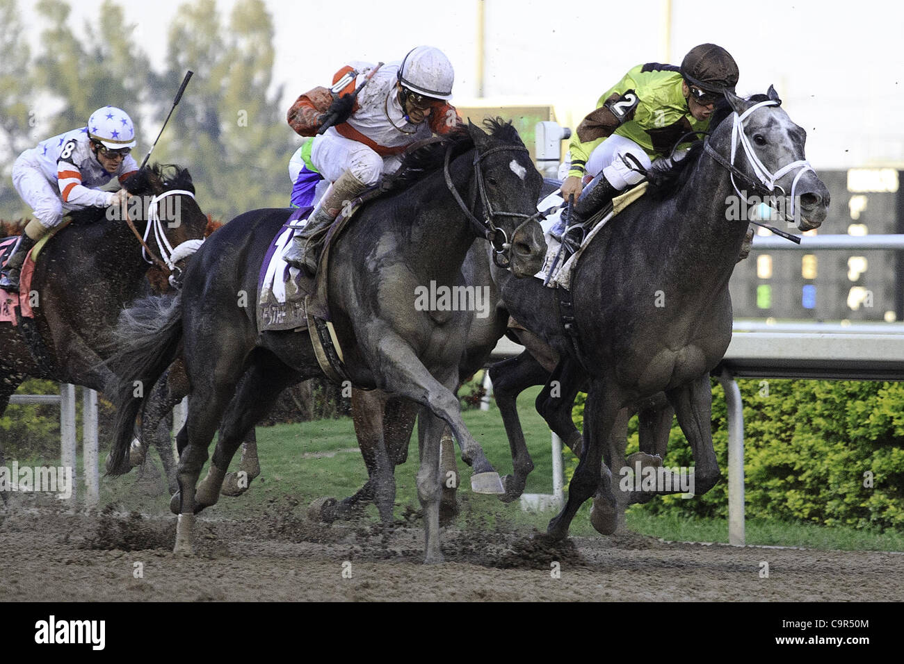 Feb. 11, 2012 - Hallandale Beach, Florida, U.S. - Hymn Book with(10) and Mission Impazible(2) battle to the wire - Stock Image