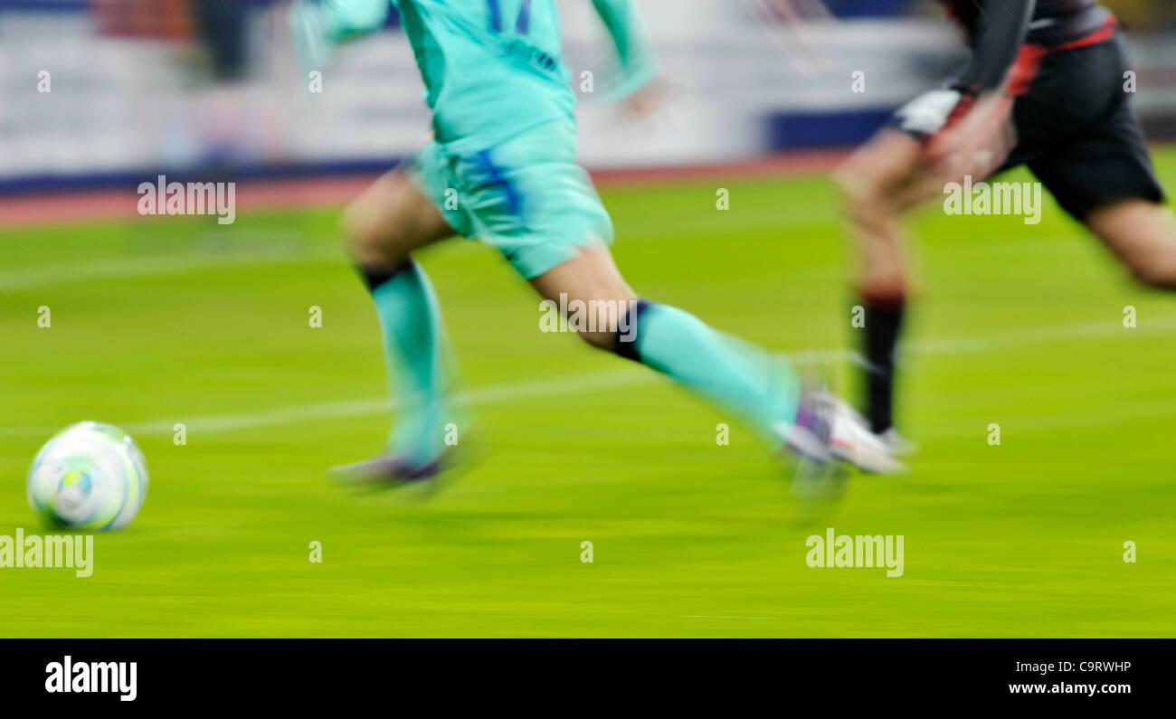 Fussball, Champions League Achtelfinale  Hinspiel, Bayer 04 Leverkusen gegen FC Barcelona  (Spanien) 1:3 --- dynamische - Stock Image