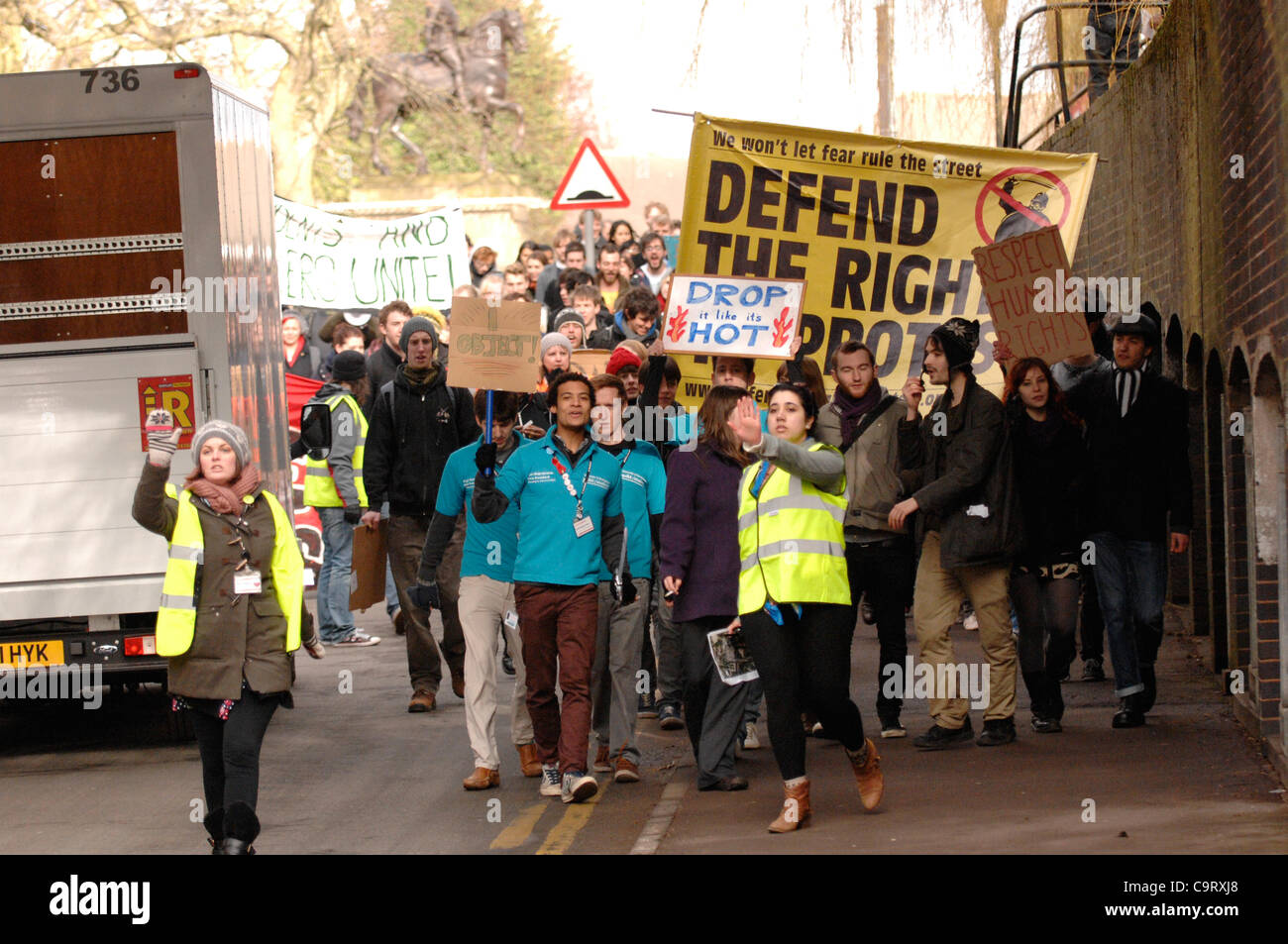 15/02/2012, Birmingham University, UK. Students arrive from all over the country to defend the right to protest - Stock Image