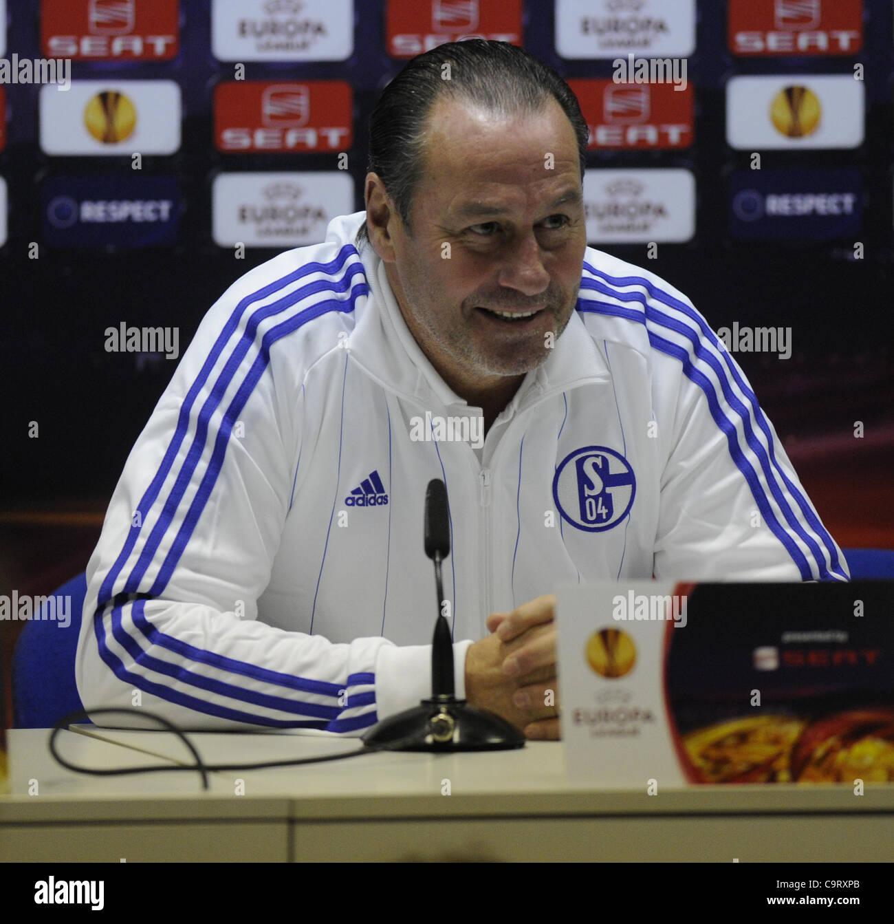Schalke 04 coach Huub Stevens is seen during a press conference prior to the Europa League match FK Viktoria Plzen - Stock Image