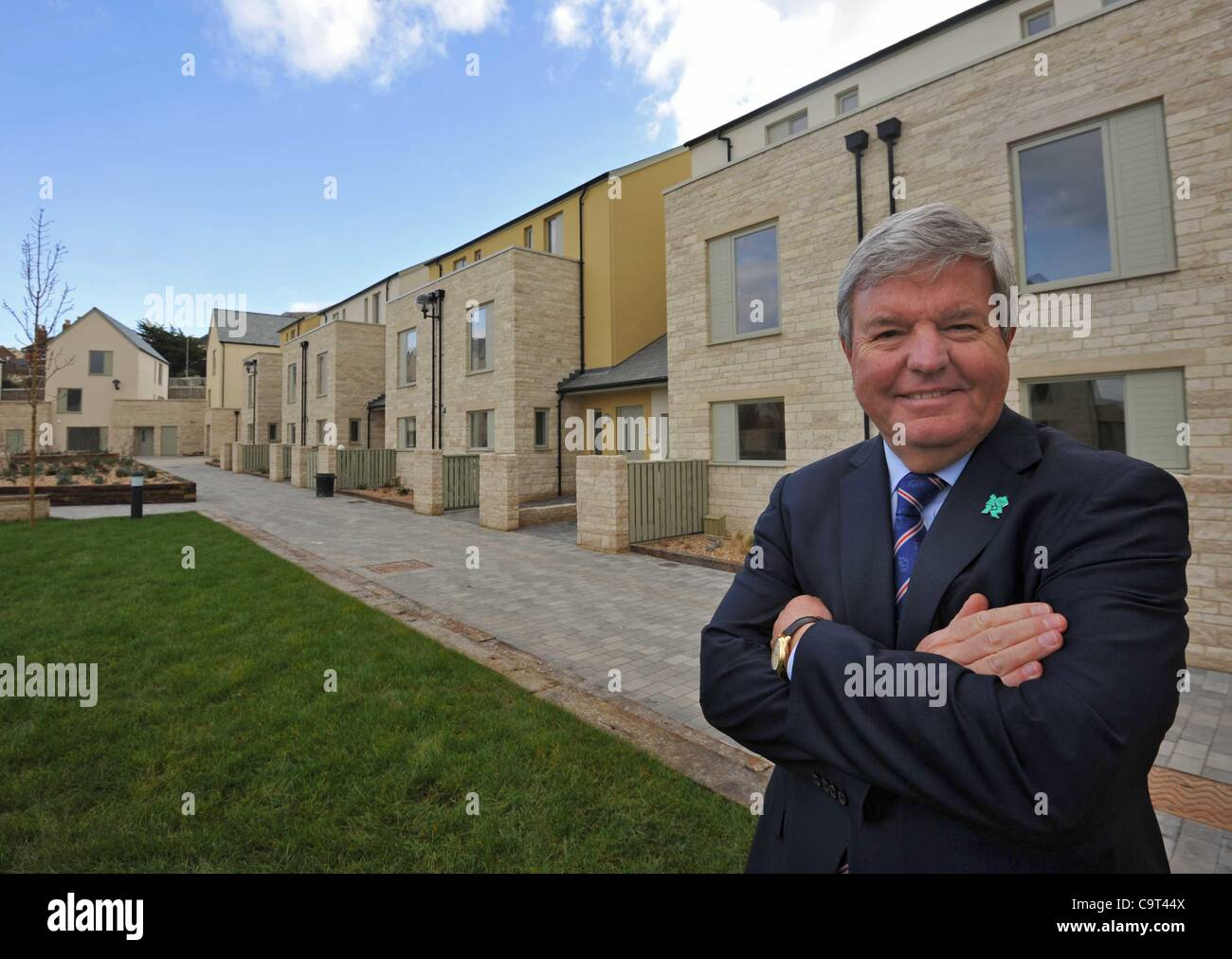 Sir Keith Mills, Deputy Chair LOCOG at Portland, Dorset  for the official handover of the athletes Olympic Sailing - Stock Image