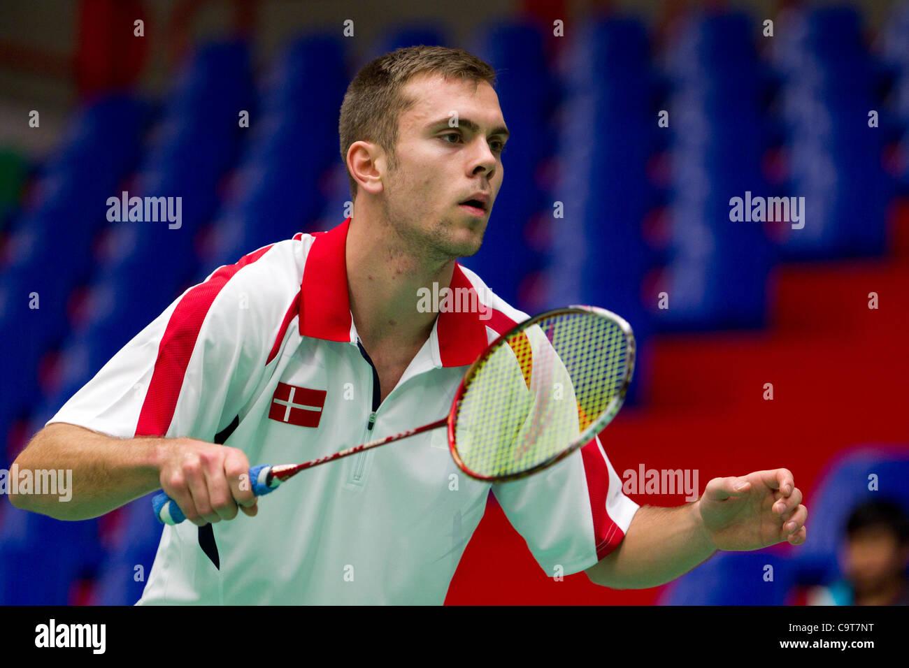 AMSTERDAM, THE NETHERLANDS, 17/02/2012. Badminton player Jan Ø. Jørgensen (Denmark, pictured) leads his - Stock Image