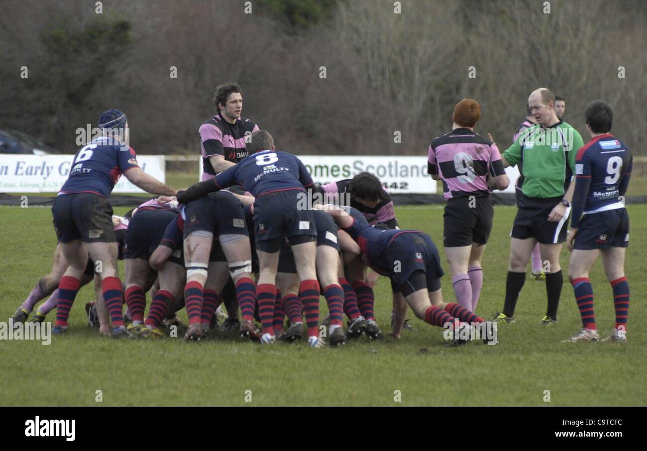 Ayr, UK. 18/2/12  Action from the RBS Premier A league match between Ayr and Dundee High. - Stock Image