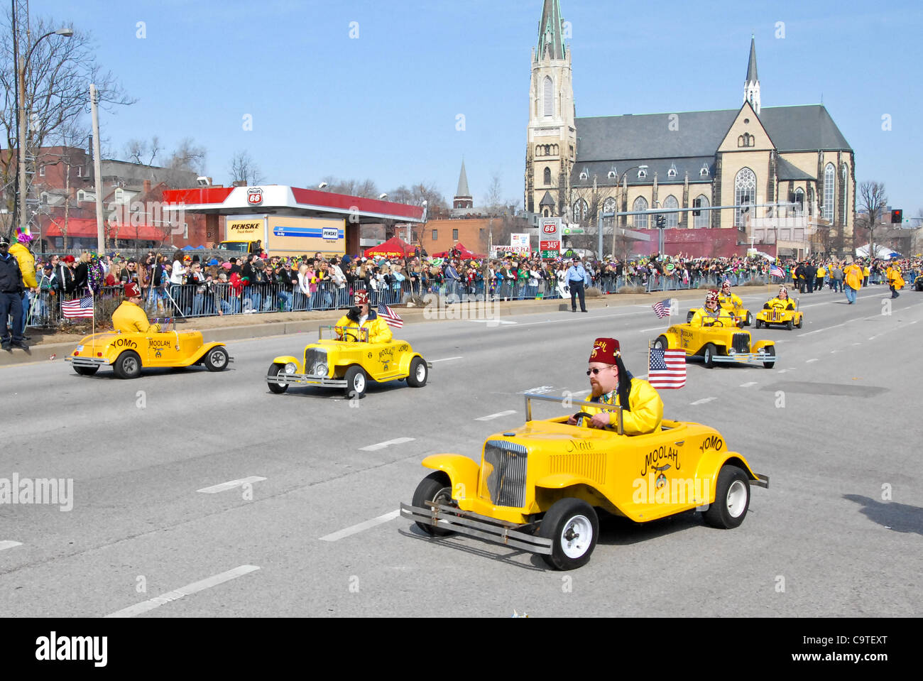 Feb. 18, 2012 - Saint Louis, Missouri, U.S - The Moolah Shriners drive their crowd favorite mini cars during the - Stock Image