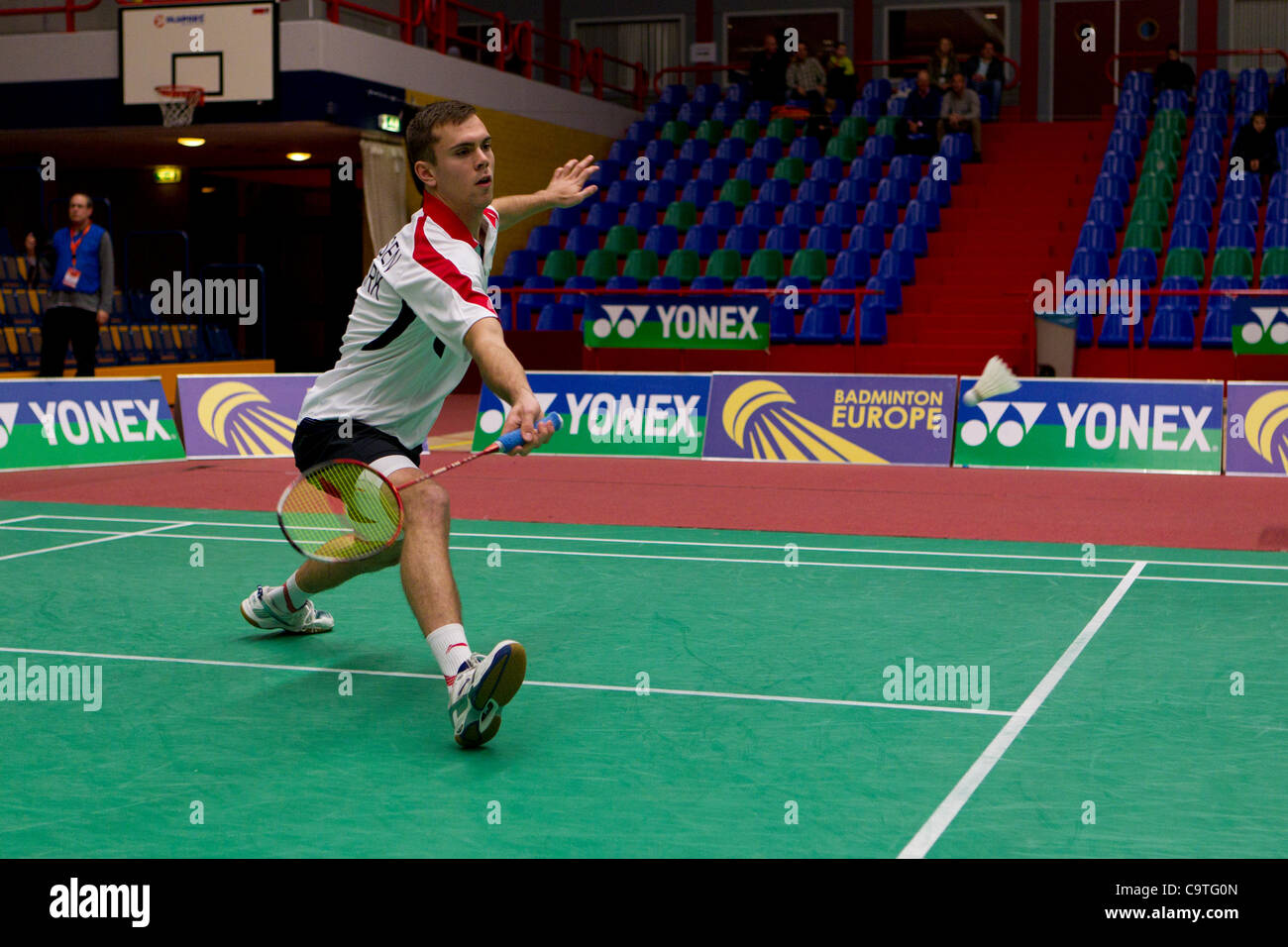 AMSTERDAM, THE NETHERLANDS, 18/02/2012. Badminton player Jan Ø. Jørgensen (Denmark) leads his team to - Stock Image