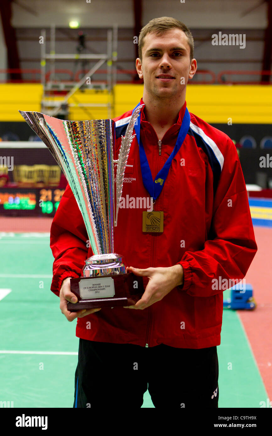 AMSTERDAM, THE NETHERLANDS, 19/02/2012. Badminton player Jan Ø. Jørgensen (Denmark) with the cup won by - Stock Image