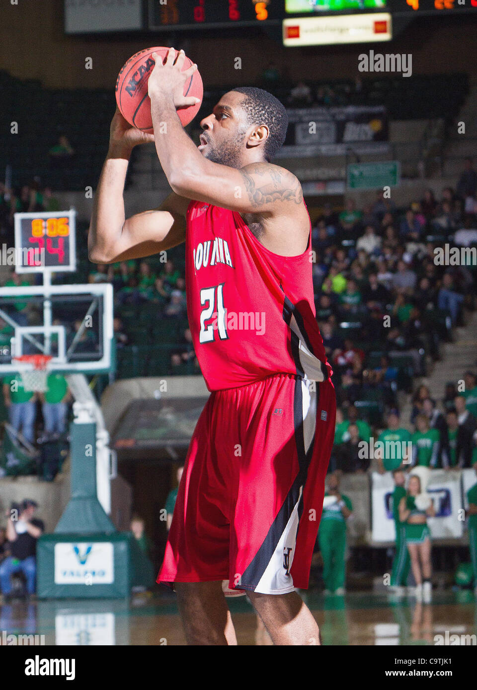 Feb. 18, 2012 - Denton, Texas, United States of America - Louisiana Lafayette Ragin Cajuns forward Darshawn McClellan - Stock Image