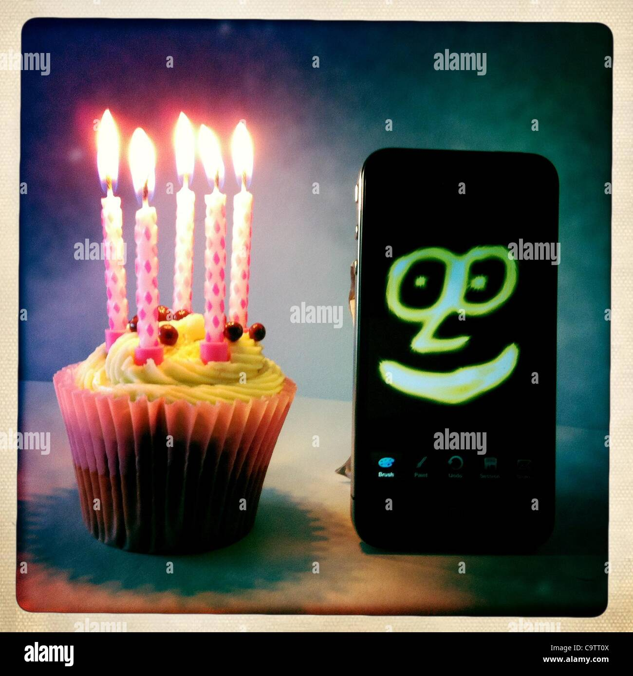 Feb. 20, 2012 - London, UK - iPhone's 5th birthday.The first iPhone was unveiled by Steve Jobs, then CEO of - Stock Image