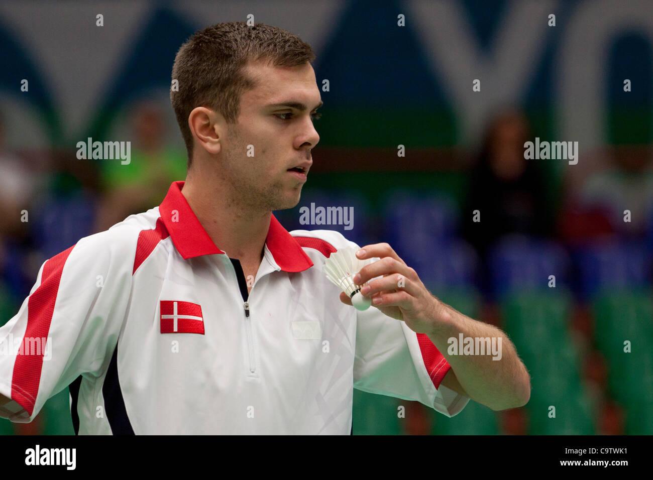 AMSTERDAM, THE NETHERLANDS, 19/02/2012. Badminton player Jan Ø. Jørgensen (Denmark, pictured) wins his - Stock Image