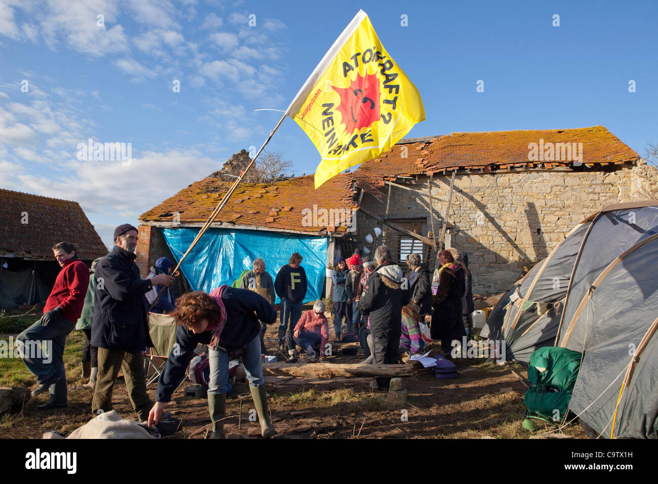Anti nuclear protest at Hinkley Point north Somerset . Protesters have occupied a  farmhouse as EDF clear the land Stock Photo