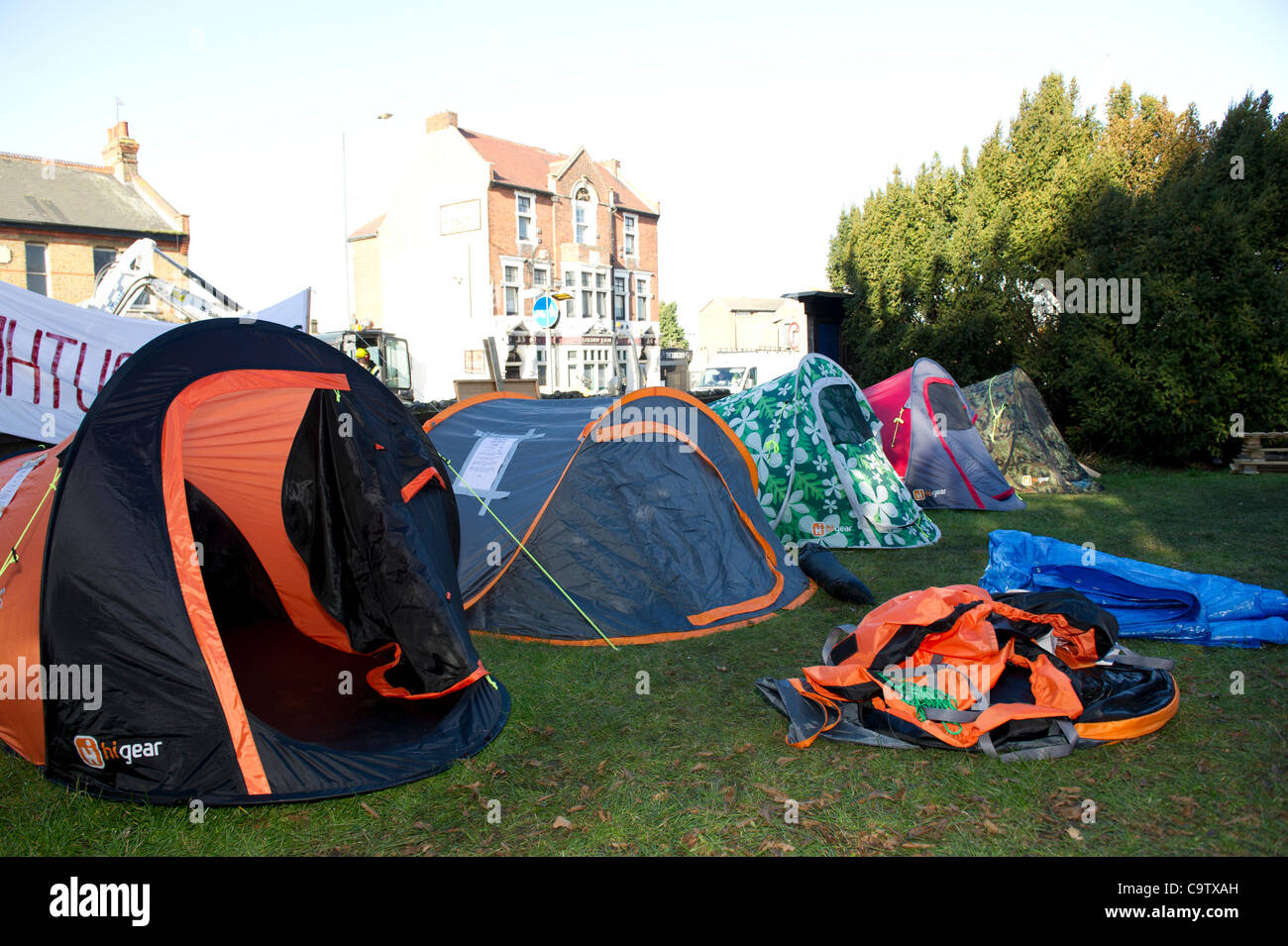 21st February 2012. Occupy Southend has set up its camp in the grounds of St.Mary's Church near the town centre. Stock Photo