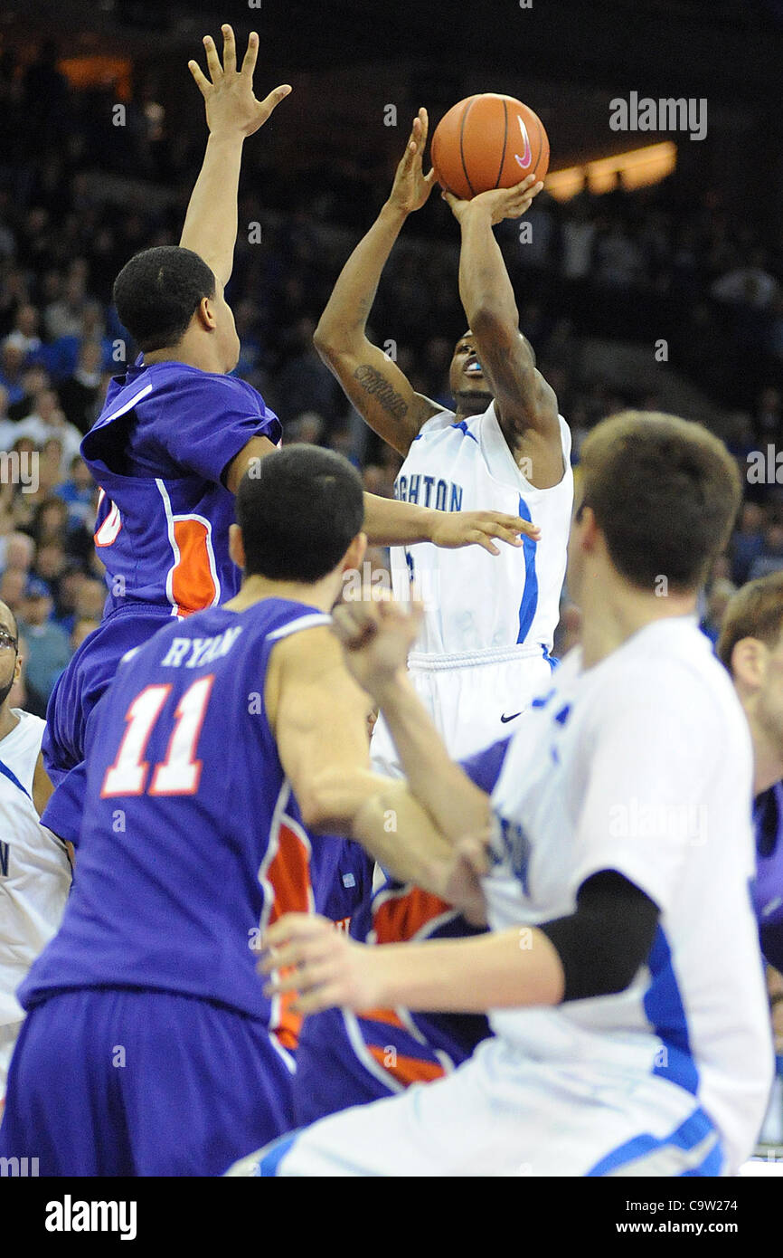 Feb. 21, 2012 - Omaha, Nebraska, U.S - Creighton guard Josh Jones (5) shoots the game winning basket over Evansville - Stock Image