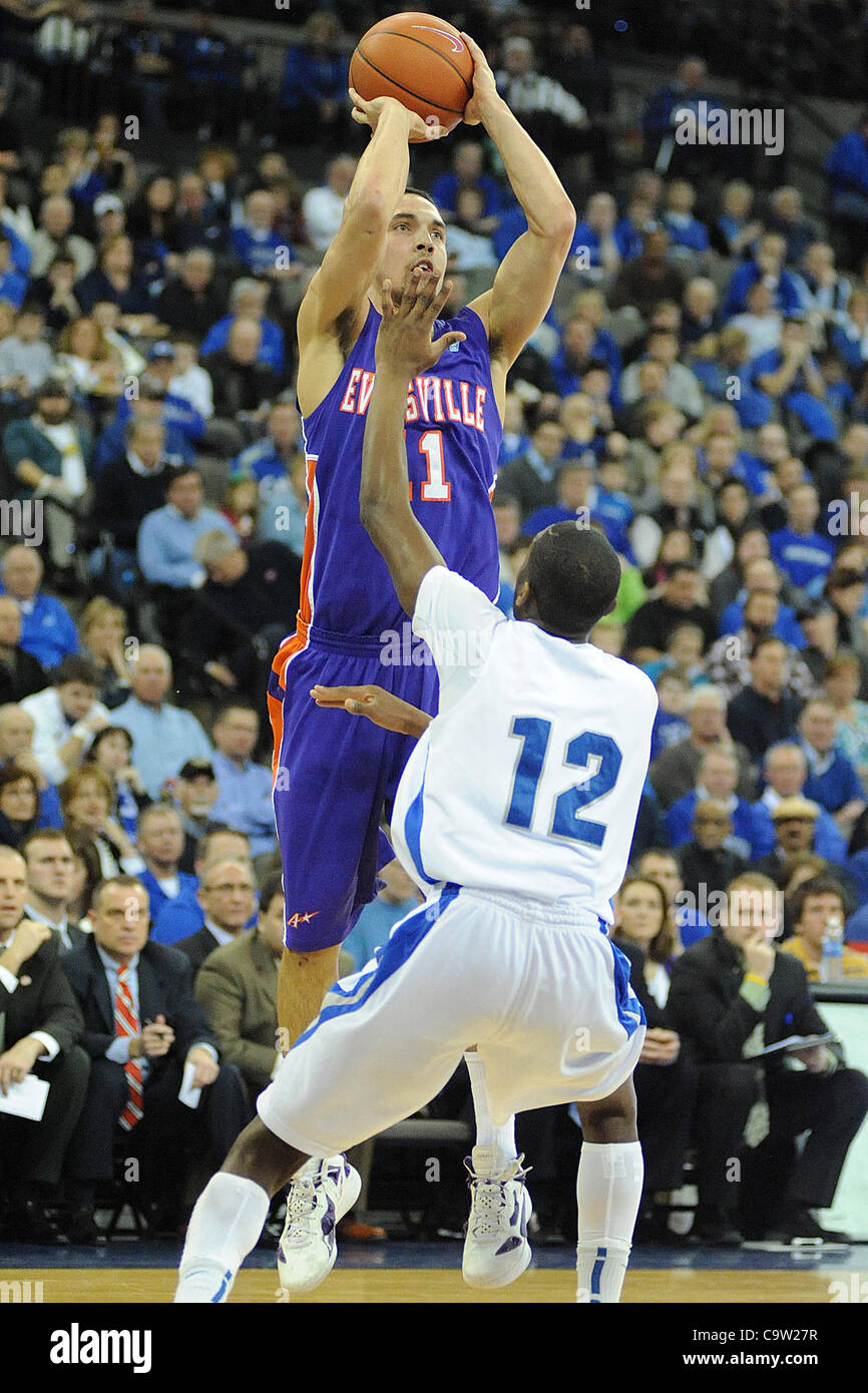 Feb. 21, 2012 - Omaha, Nebraska, U.S - Evansville guard Colt Ryan (11), defended by Creighton guard Jahenns Manigat - Stock Image