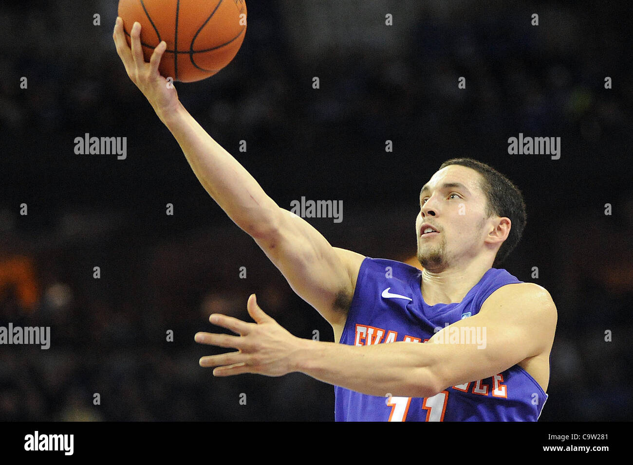Feb. 21, 2012 - Omaha, Nebraska, U.S - Evansville guard Colt Ryan (11) scored a game high 43 points but it wasn't - Stock Image