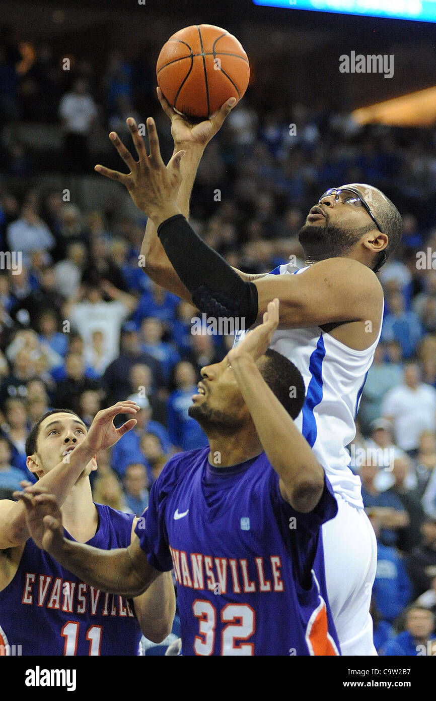 Feb. 21, 2012 - Omaha, Nebraska, U.S - Creighton center Gregory Echenique (00) scores over Evansville Kenneth Harris - Stock Image