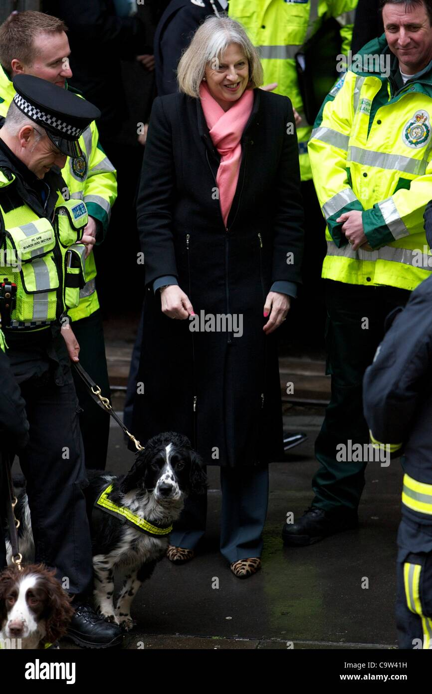Home secretary Theresa May visit the emergency services during a training exercise at the Aldwych underground station - Stock Image