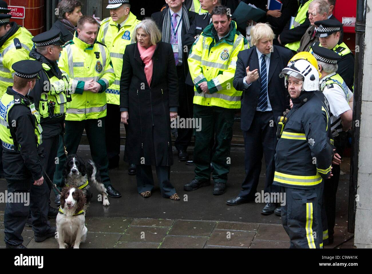 Mayor Boris Johnson and home secretary Theresa May visit the emergency services during a training exercise at the - Stock Image