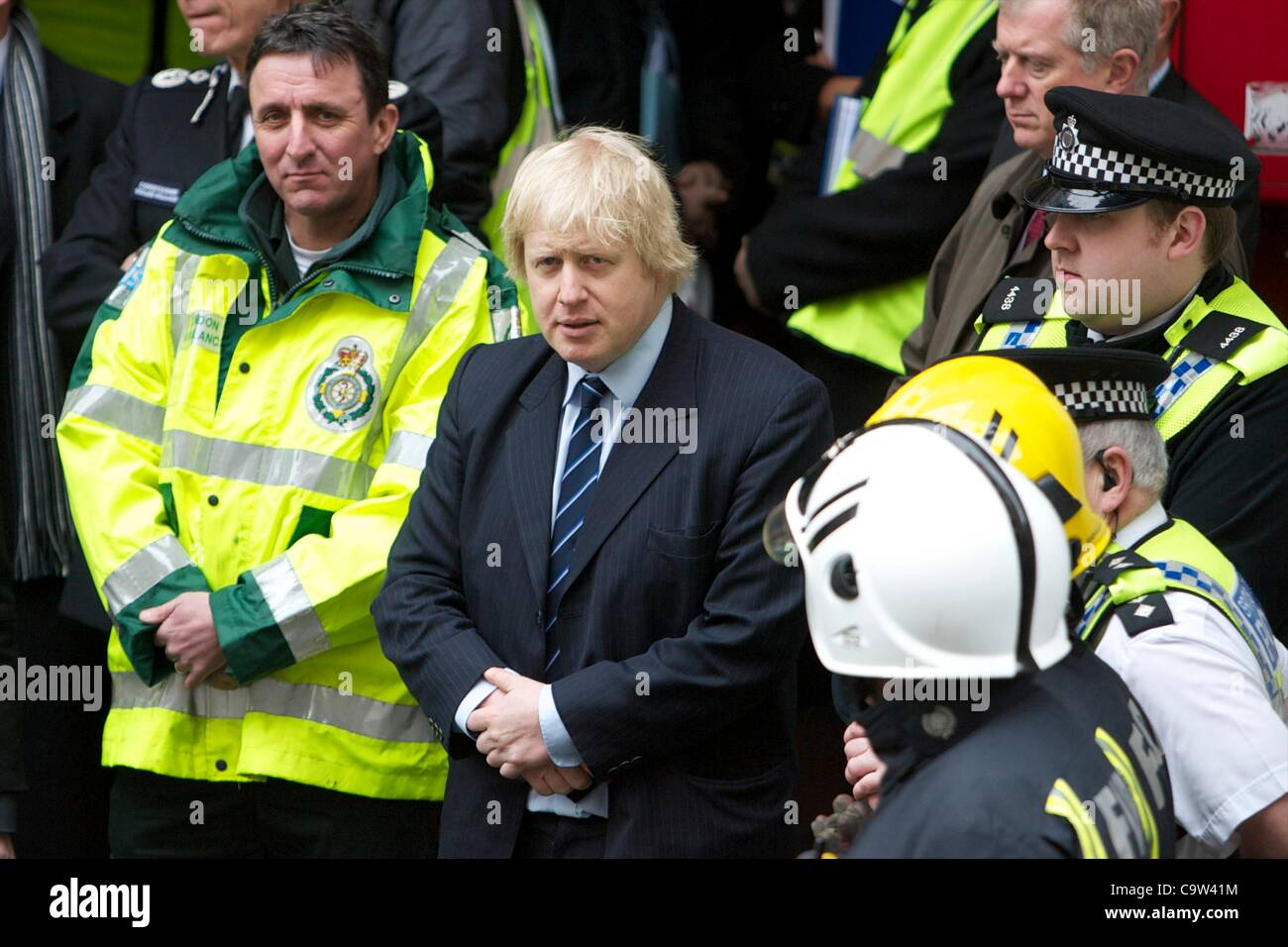 Mayor Boris Johnson visits the emergency services during a training exercise at the Aldwych underground station - Stock Image