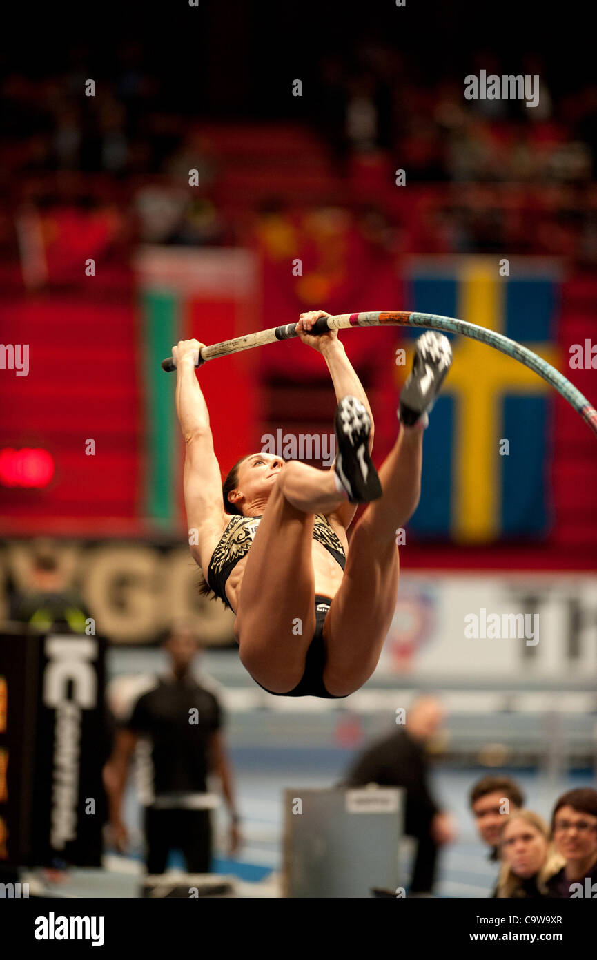 Stockholm, Sweden, 23/02/2012. Russian Pole Vault jumper Jelena Isinbajeva makes World Record 5.01m at the Globe - Stock Image