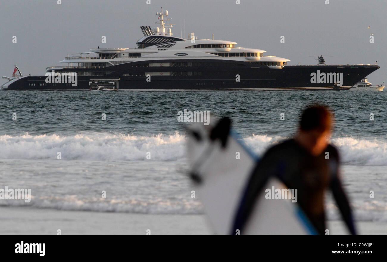 Feb. 25, 2012 - Los Angeles, California, U.S - Super luxury yacht. the Serene, an Italian-built yacht reportedly - Stock Image