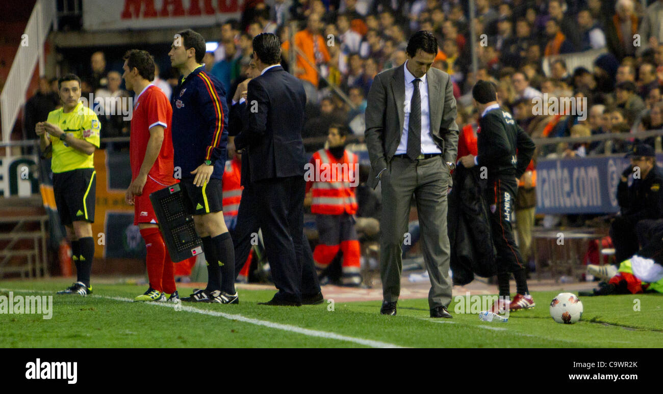 26/02/2012 - Estadio Mestalla, VALENCIA / Spain - Football La Liga -  Valencia FC vs. Sevilla FC - matchday 25  - Stock Image