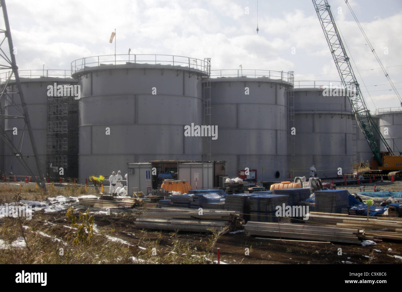 Feb. 28, 2012 - Okuma, Fukushima, Japan - Water tanks are seen at Tokyo Electric Power Co. (TEPCO)'s tsunami - Stock Image