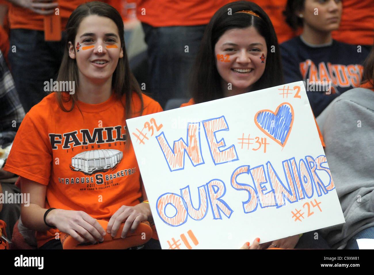 March 3, 2012 - Syracuse, New York, U.S - Syracuse students show off their support of the seniors before the Orange - Stock Image