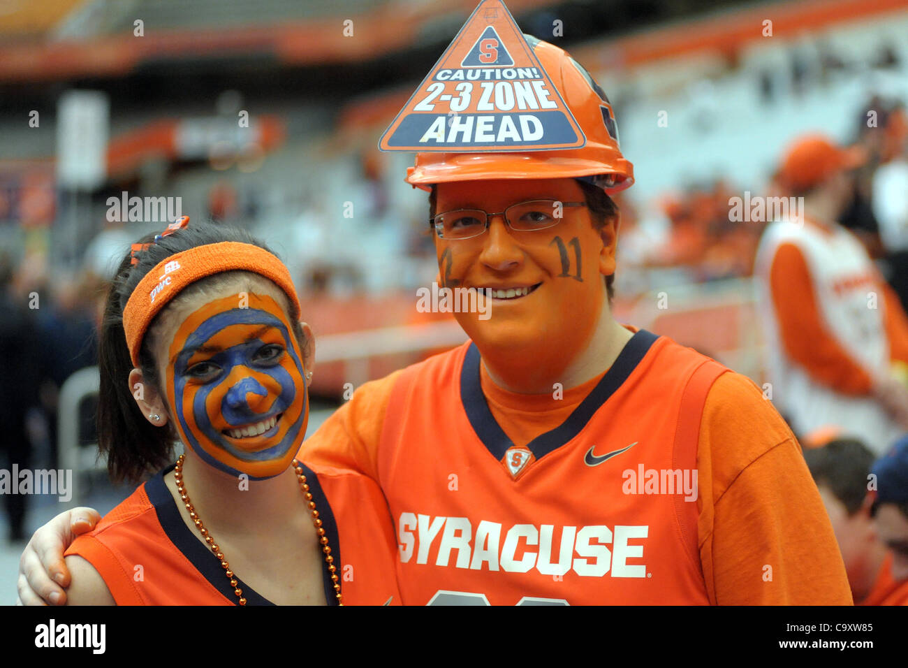 March 3, 2012 - Syracuse, New York, U.S - Two Syracuse students show off their face paint before the Orange battle - Stock Image