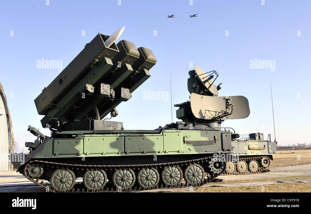 Self-propelled tactical air defence missile system 2K12 - KUB (NATO code: SA-6 GAINFUL) is shown at the military - Stock Image