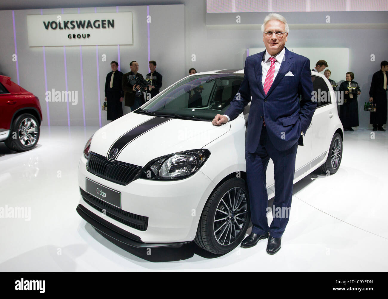 Skoda Auto CEO Winfried Vahland introduces new Skoda Citigo with five doors during Volkswagen Group evening at The - Stock Image