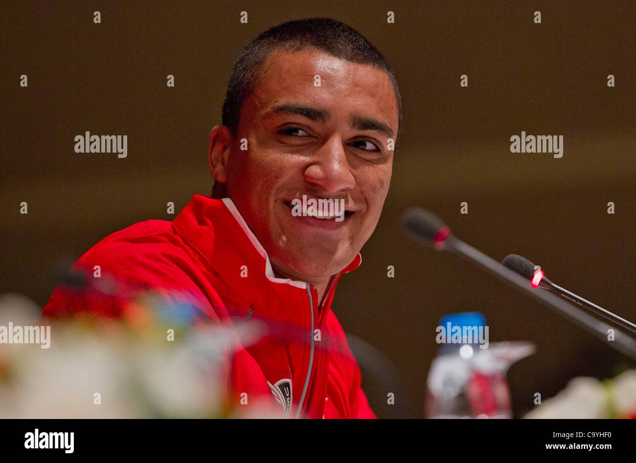 ISTANBUL, TURKEY: Thursday 8 March 2012, Ashton Eaton of the United States of America (USA), heptathlon world record - Stock Image