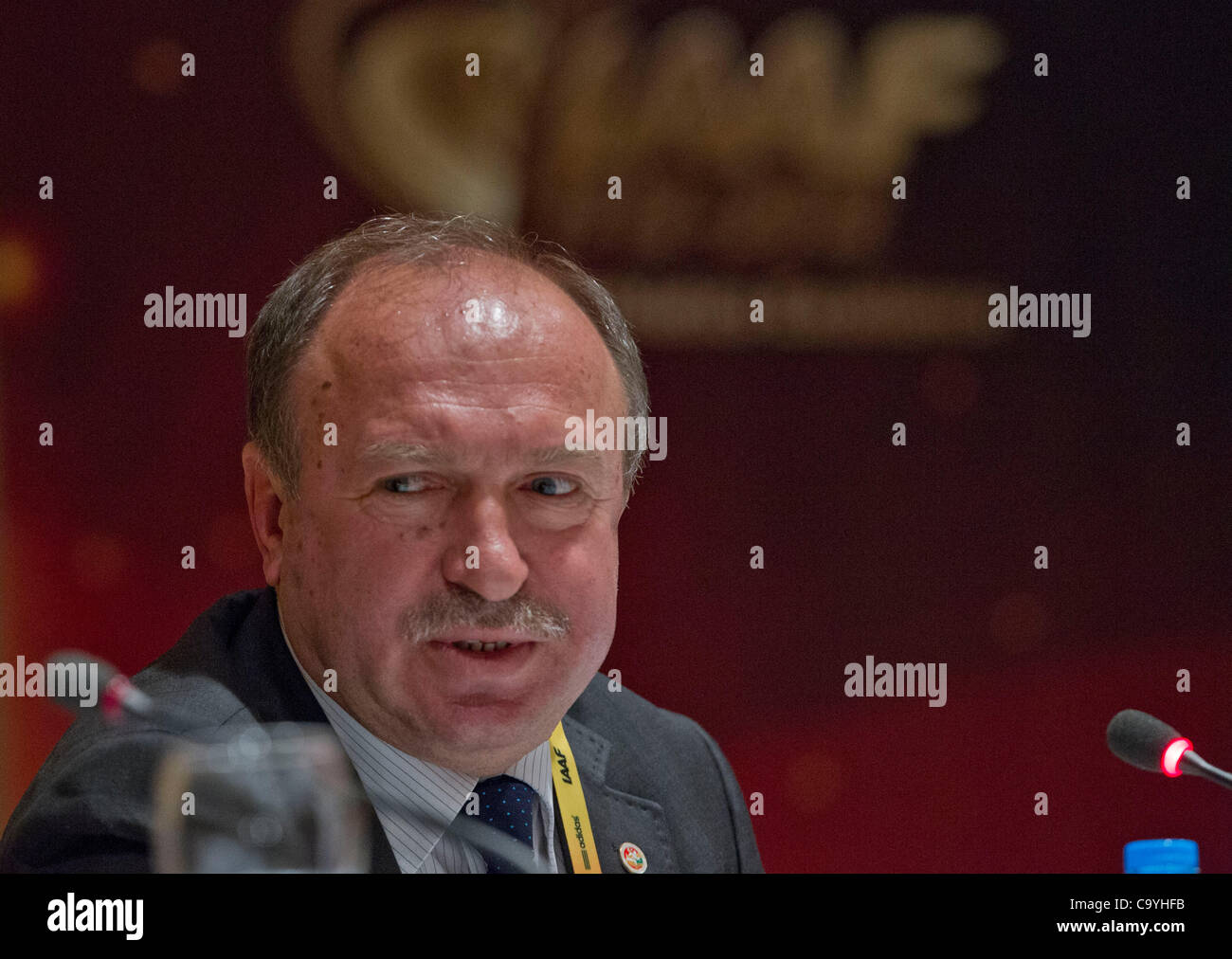 ISTANBUL, TURKEY: Thursday 8 March 2012, President of the Turkish Athletics Federation and Local Organiising Committee, - Stock Image