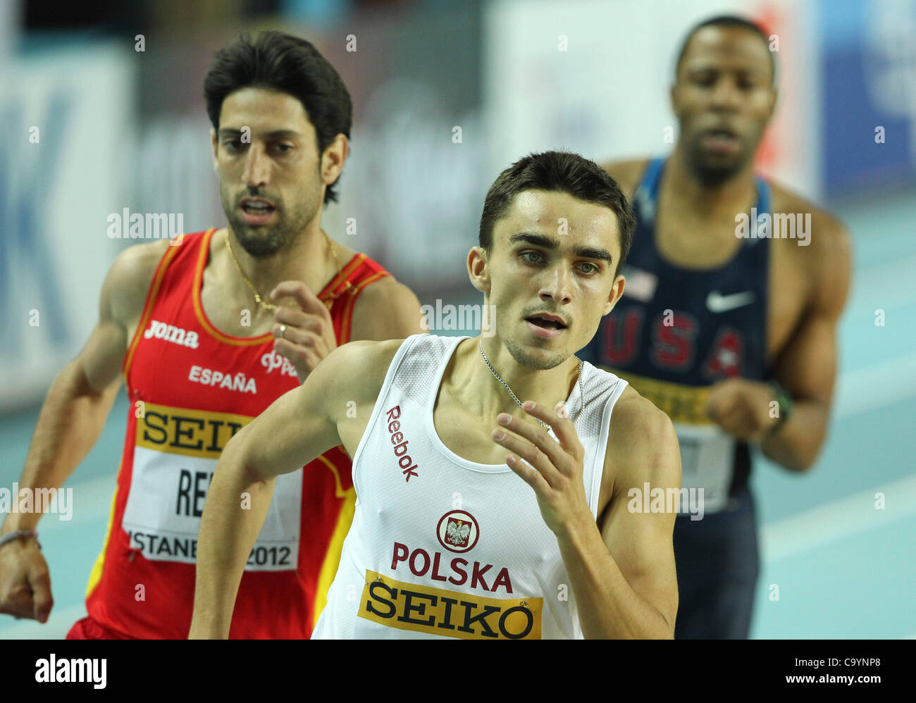 ISTANBUL, TURKEY: Friday 9 March 2012, Adam Kszczot (POL) of Poland in the mens 800m qualification during the morning - Stock Image