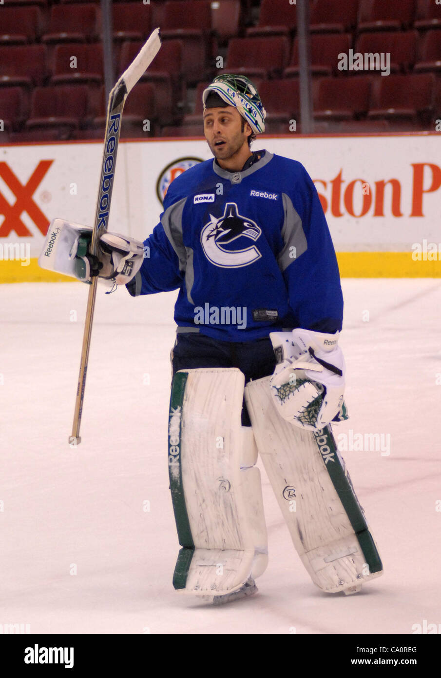 Vancouver Canucks Goalie Roberto Luongo Practices With The Team At
