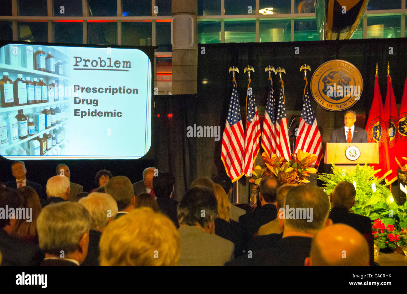 Nassau County Executive Edward Mangano gives State of the County Address, on Wednesday night, March 14, 2012, at - Stock Image