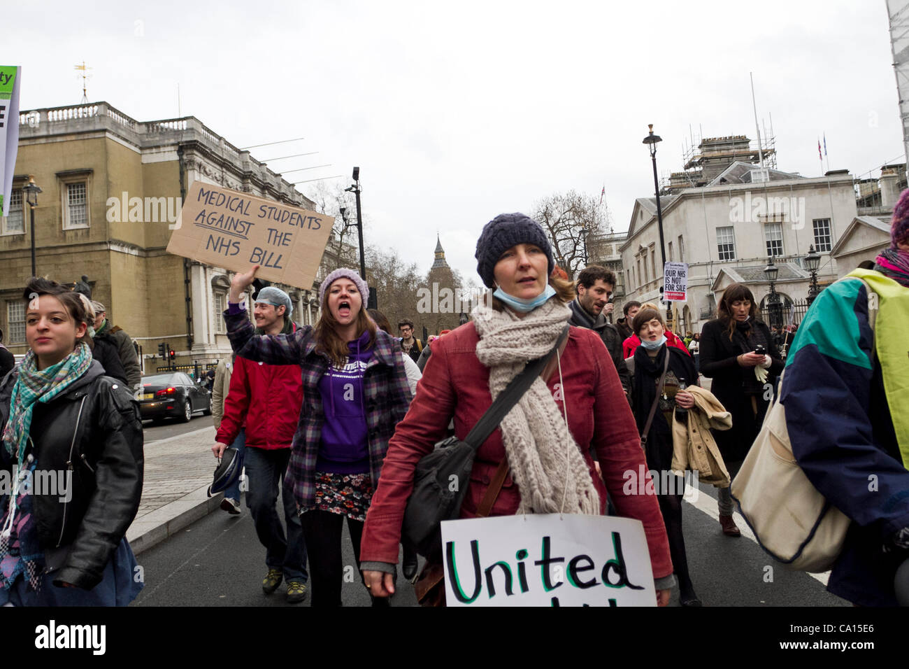 London, UK. 17/03/2012. NHS protesters marched the streets.The government will be voting on the Health and Social - Stock Image