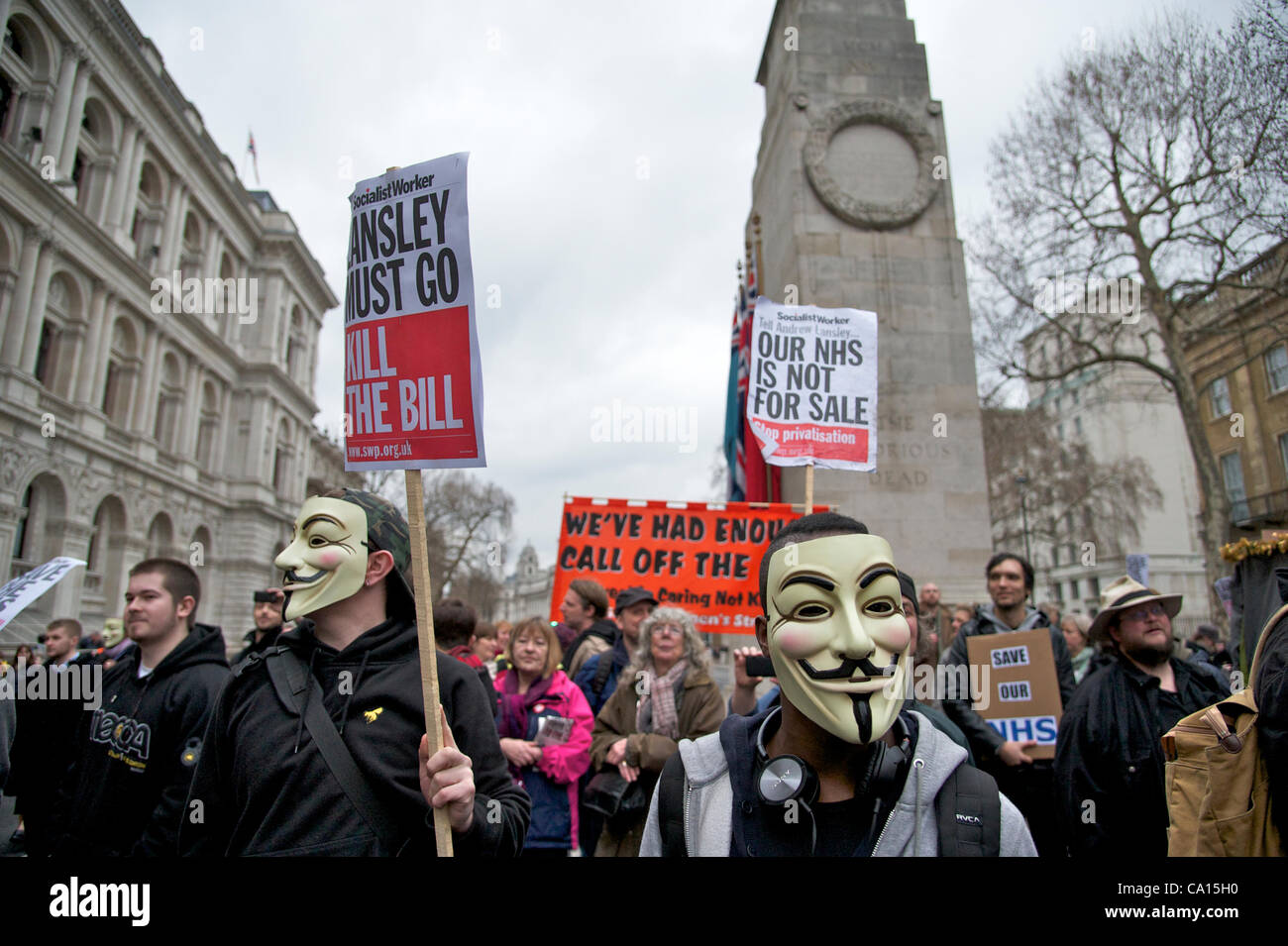 London, UK. 17/03/2012. UKUncut Protesters call on the government to scrap its reforms of the NHS. The government - Stock Image