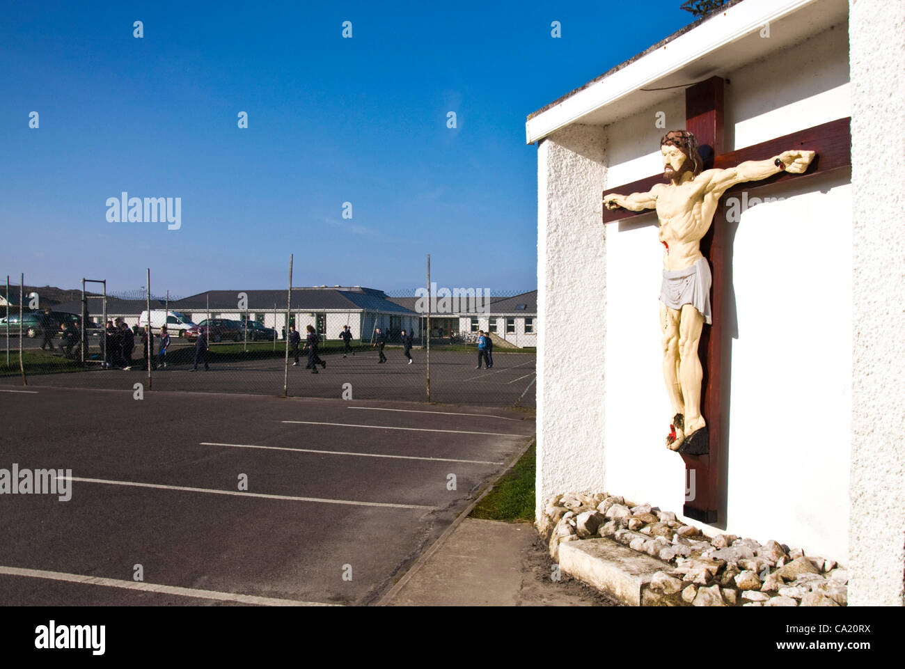 22/03/2012 St. Crona's School, Dungloe, County Donegal, Ireland. Children play in playground of a Roman Catholic Stock Photo