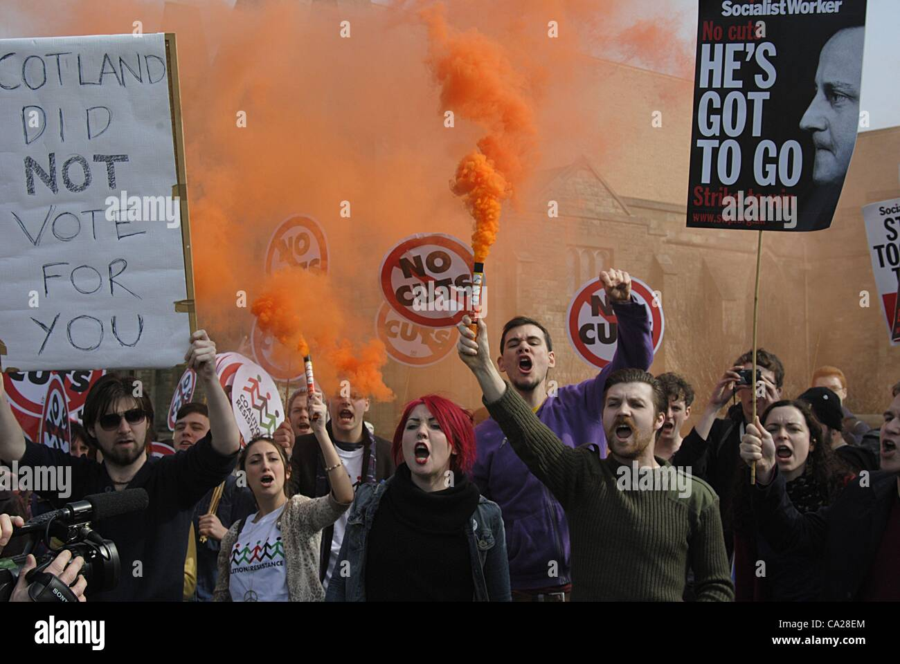 Troon, UK. 24/3/12   'Youth Fight for Jobs' protest march organised by the Scottish Trades Union Congress - Stock Image