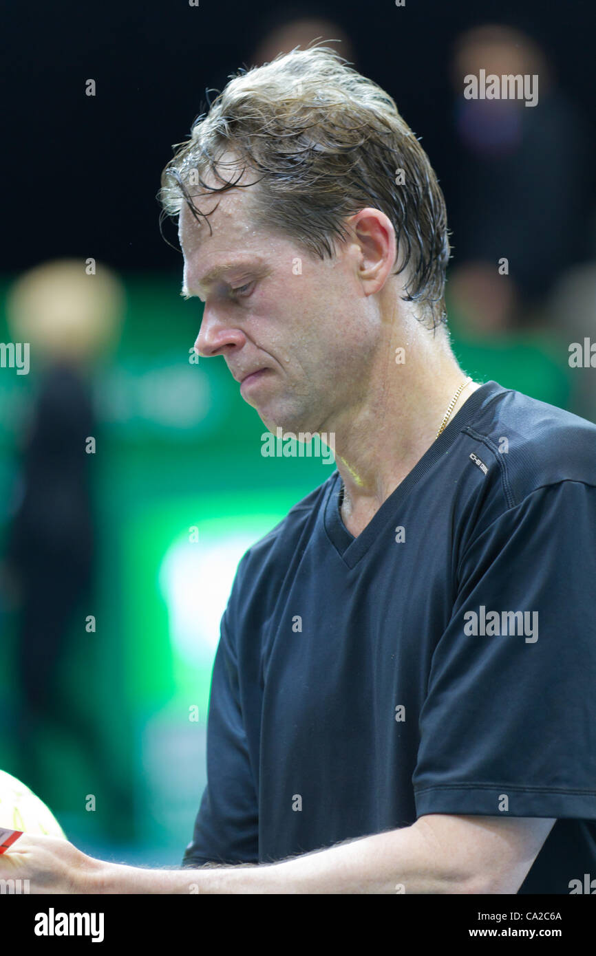 ZURICH, SWITZERLAND-MARCH 24: Stefan Edberg gives autographs at BNP Paribas Zurich Open Champions Tour  in Zurich, - Stock Image