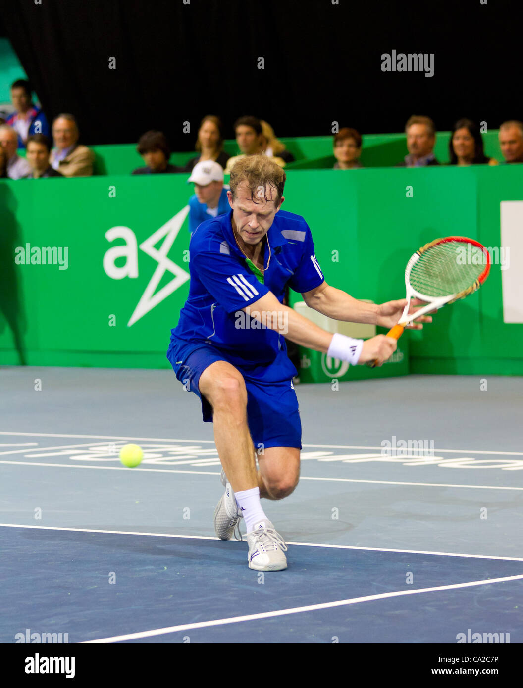ZURICH, SWITZERLAND-MARCH 24: Stefan Edberg plays tennis in final of BNP Paribas Open Champions Tour aganinst Carlos - Stock Image