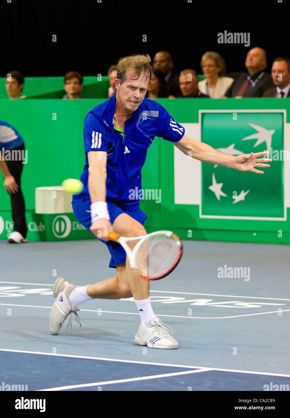 ZURICH, SWITZERLAND-MARCH 24: Stefan Edberg plays tennis in final of BNP Paribas Open Champions Tour aganinst Carlos - Stock Image