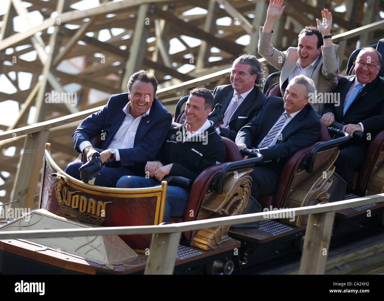 Europapark Spring Opening and Press Conference in Rust, Germany on Wednesday, 28.03.2012 with Mercedes Race Driver - Stock Image