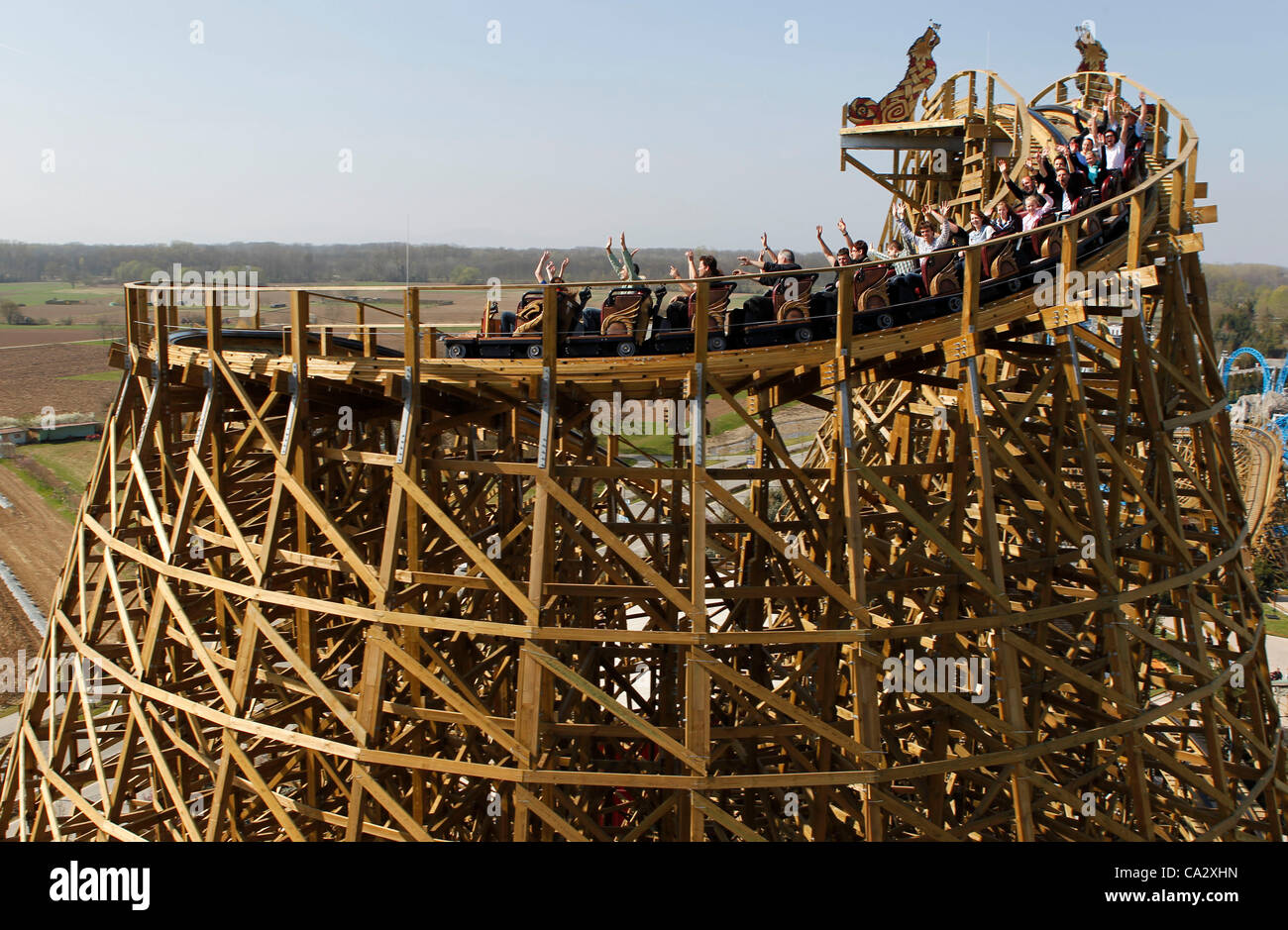 Europapark Spring Opening and Press Conference in Rust, Germany on Wednesday, 28.03.2012  with Aerial View of the - Stock Image