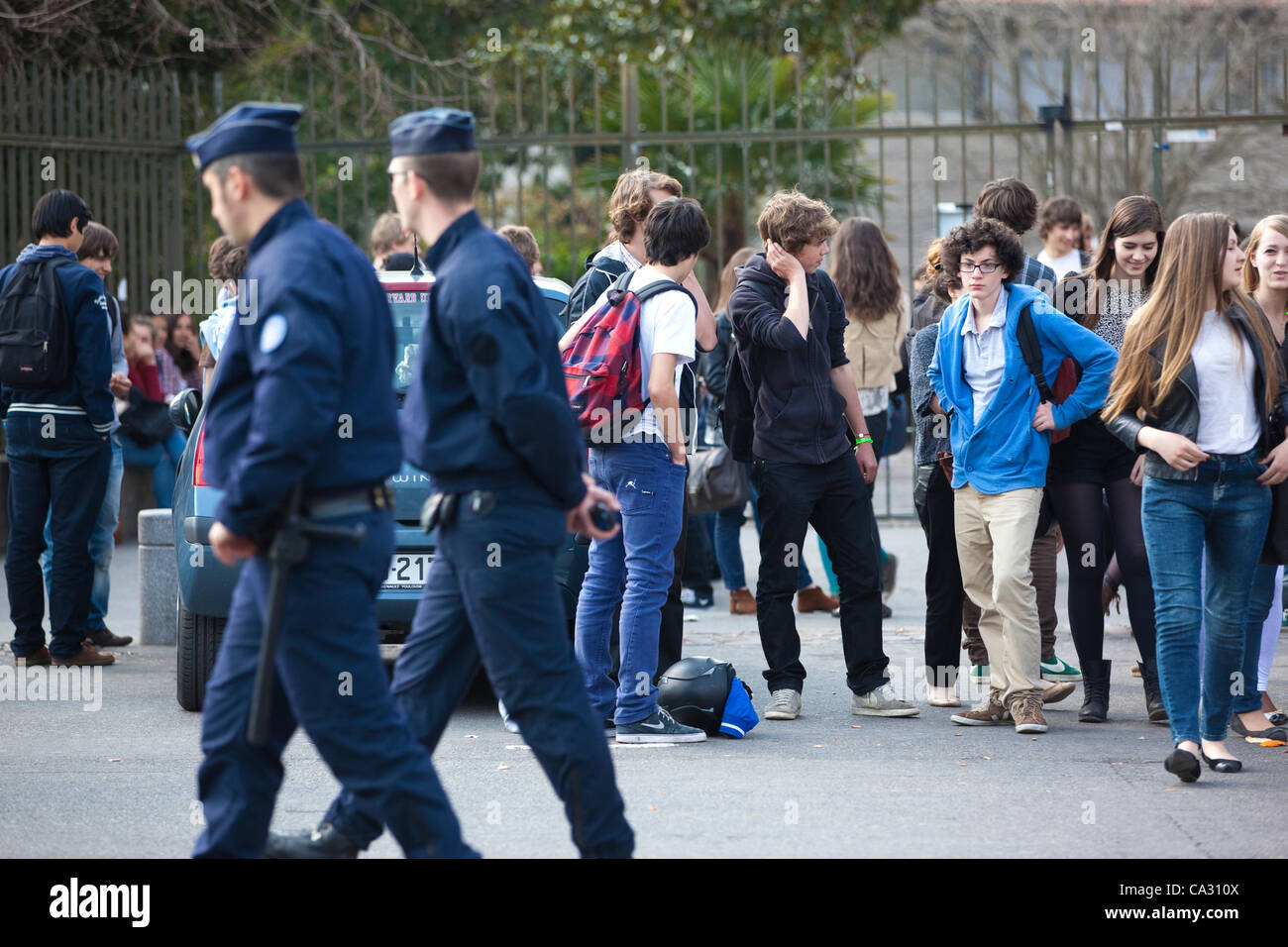 Toulouse, France. 28.03.2012 Picture shows French Police patrolling the streets outside the Lycée Ozenne high - Stock Image